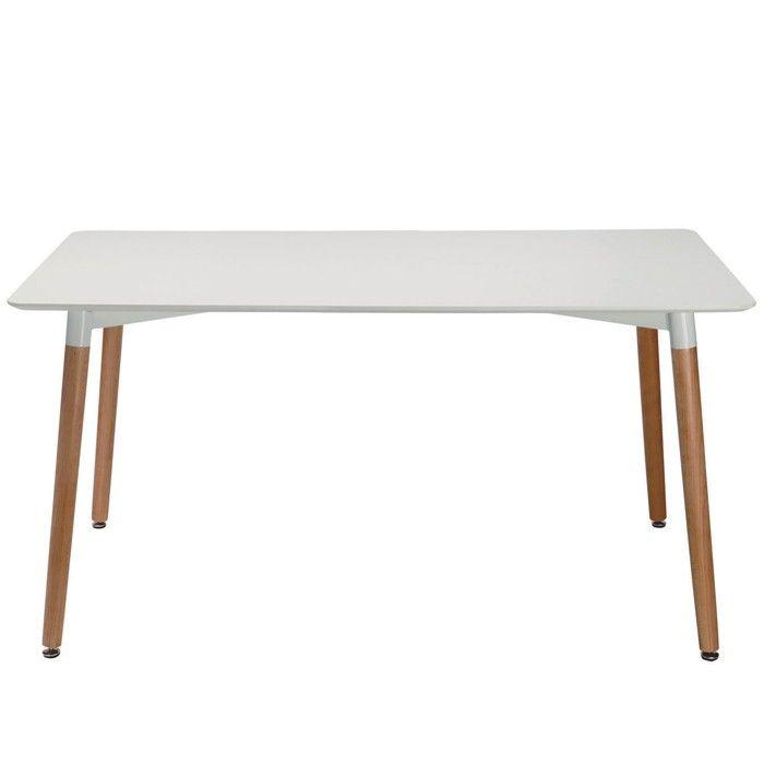 EZIO retro design dining table. White with oak legs