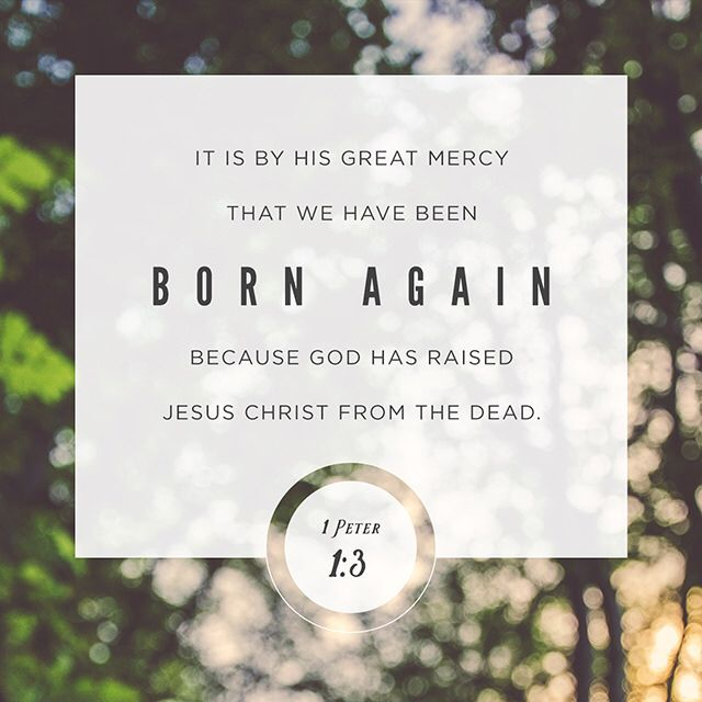It is with His great mercy that we are born again because God has raised Jesus Christ from the dead. 1 Peter 1:3