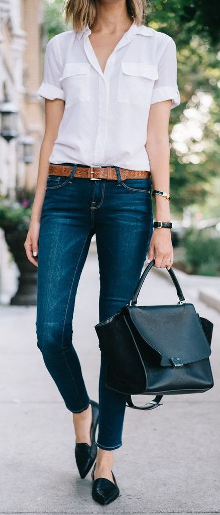 mix a white top with jeans office attire