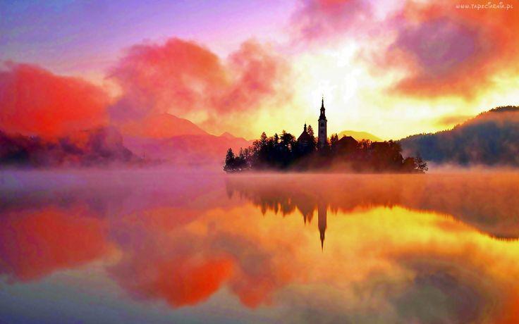 Jezioro, Bled, Wyspa, Kościół, Zachód, Słońca, Chmury, Mgła