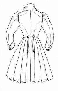 B. Men's frock coat with deep back pleats from the 1830s.
