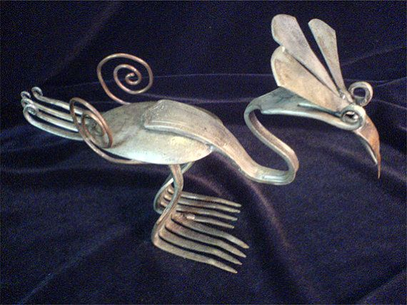 This is so cool!  Spoon and Fork Bird sculpture by victorsARTbeats on Etsy, $35.00
