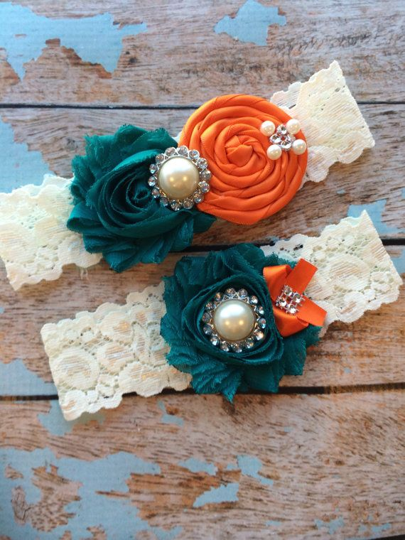 Oooooh so pretty! TEAL/ ORANGE wedding by FallenStarCoutureInc