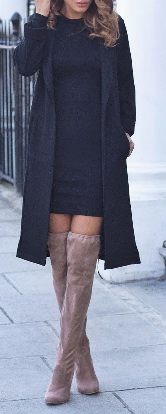#winter #fashion / all-black + camel boots