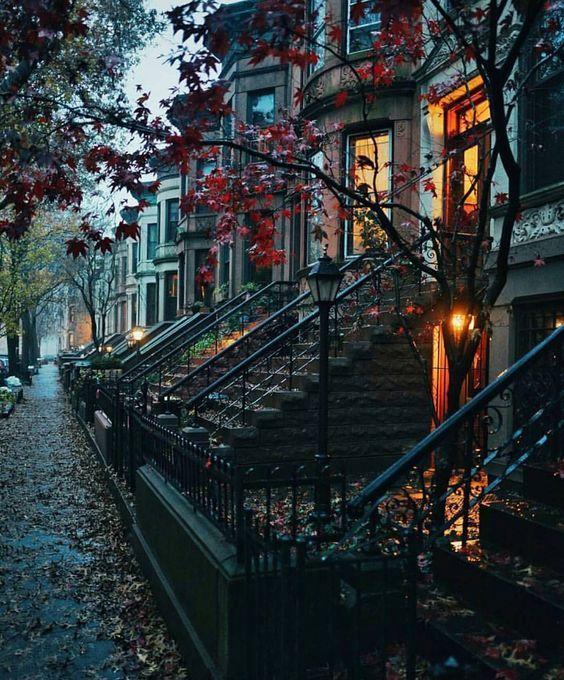 Diese Brownstones in New York sprachen immer mit … – #Brownstones #City #rain #Spoke #York