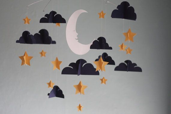 Moon and Stars Paper Mobile  Gold by HushHoneyCollective on Etsy, $85.00
