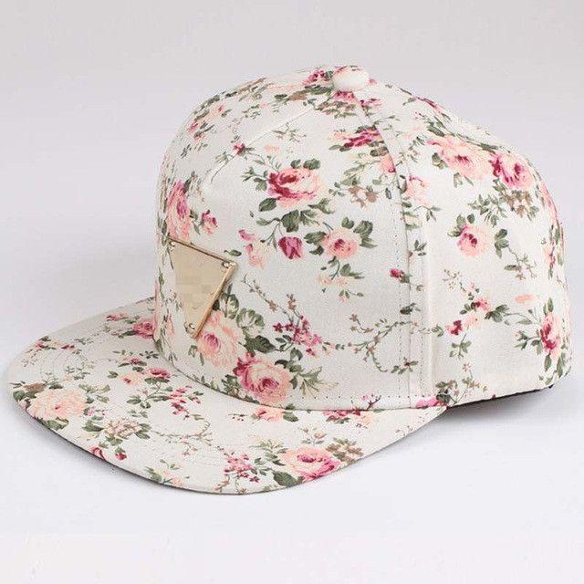 Floral Print Baseball Cap Flat Along Flowers Hip Hop Caps Snapback Wholesale Fashion Women Leisure Metal Flat Brim Bone
