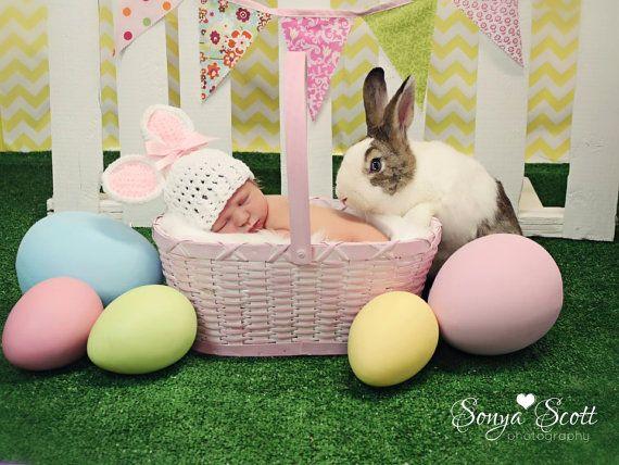 Newborn Bunny Hat, Newborn Photo Prop on Etsy, $25.00  Easter spring idea