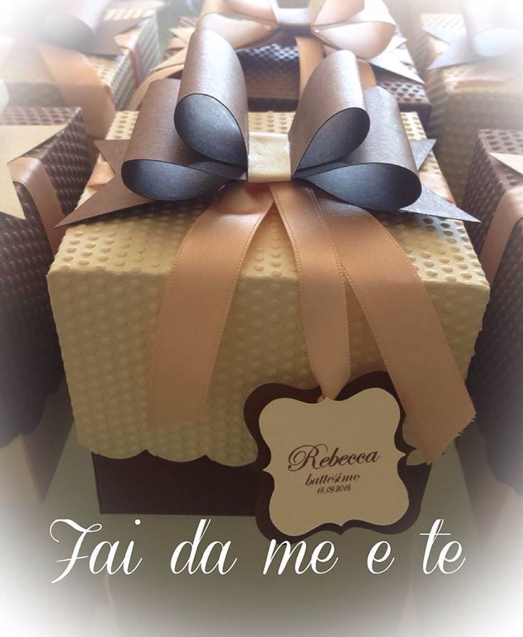 """""""Scatola Fiocco"""" crema cioccolato e pesca .. Creato a mano confezione bomboniera"""