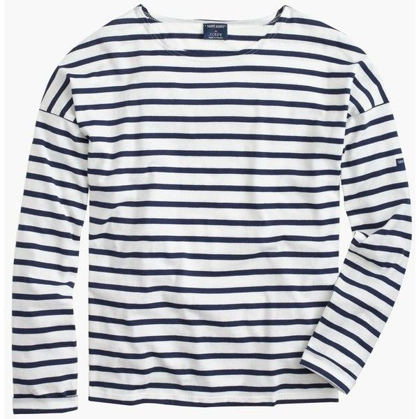Saint James For J.Crew Slouchy T-Shirt ($120) ❤ liked on Polyvore featuring tops, j.crew, striped top, striped sleeve shirt, white shirt, white stripes shirt and breton striped shirt