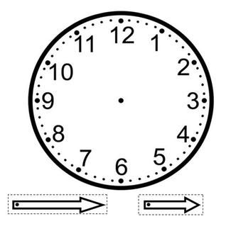 A clock template that can be used as a craft with the students. Hands of clock are cut out and attached to the face using a fastener. This allows the students to move the hands. Can be glued to construction paper to make the clock more sturdy. Decorating ideas include drawing a person on face the clock, and arms on the hands of the clock.