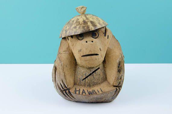 Vintage 1960s Carved Coconut Monkey Bank Hawaii Souvenir Tiki Bar Glasses Oddities Midcentury Beach