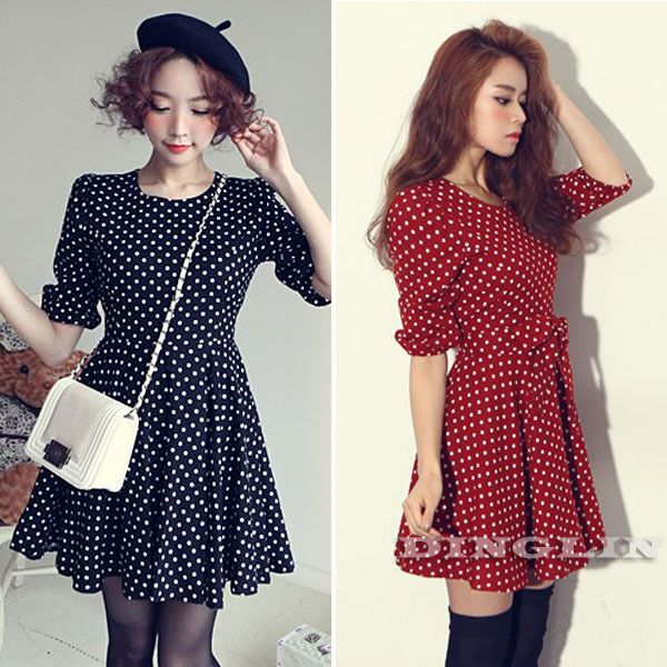 Find More Dresses Information about 2015 Women Ladies Cute Vintage Elegant Dresses Long Sleeve O Neck Polka Dot Spotted Chiffon Party Cocktail Mini Prom Dress 1313,High Quality dress up costumes for kids,China shipping a wedding dress Suppliers, Cheap dress with open back from DingLin Fashion Store on Aliexpress.com
