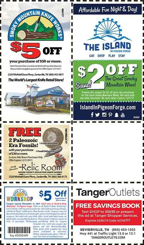 Discount Coupons for the Smoky Mountains - Pigeon Forge Discounts - Gatlinburg Discount Coupons