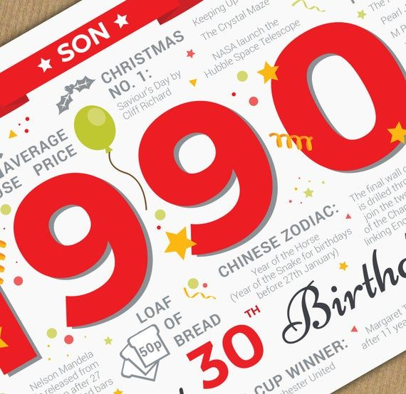 Happy 30th Birthday Son Greetings Card Born In 1991 Year Of Birth Facts Memories Red Happy 21st Birthday Happy 30th Birthday Happy 21st Birthday Son