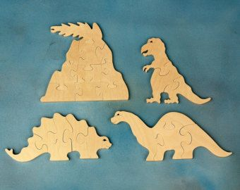 Wood Dinosaur Puzzles Set of 3 Childrens Wooden от nwtoycrafters