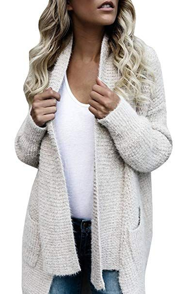 d3656dc6e8bb6 Fashare Womens Open Front Chunky Cable Knit Cardigan Sweaters Coat with  Pockets