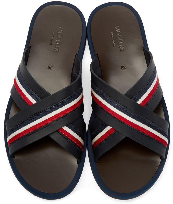 Moncler: Black Slide Sandals | SSENSE