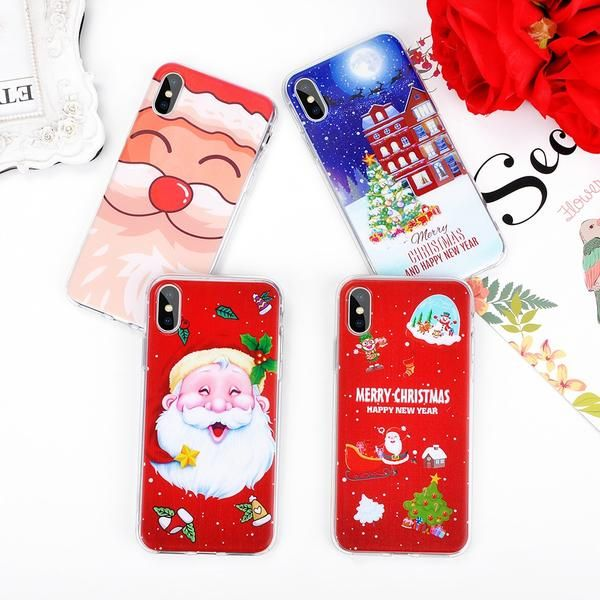 9a5954ce572b3e Lovely Santa Claus Christmas Phone Case For iphone X XS XR XS Max 7 6 6S 8  Plus Case Cute Cartoon Painted Cover Soft Cases Gift