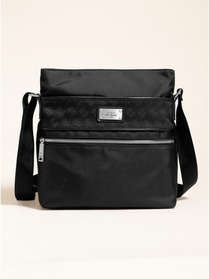 #GUESS Vertical Messenger #Bag - $88  #Men's Accessories  #Messenger bag  Faux leather trim  Adjustable shoulder strap