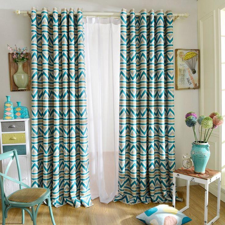 1 шт. синий полосатый отпечатано затемненные шторы для гостиной современные окна гостиной шторы для детей шторы для детей купить на AliExpress