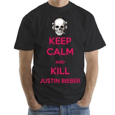Keep Calm And Kill Justin Bieber мъжка тениска с къс ръкав