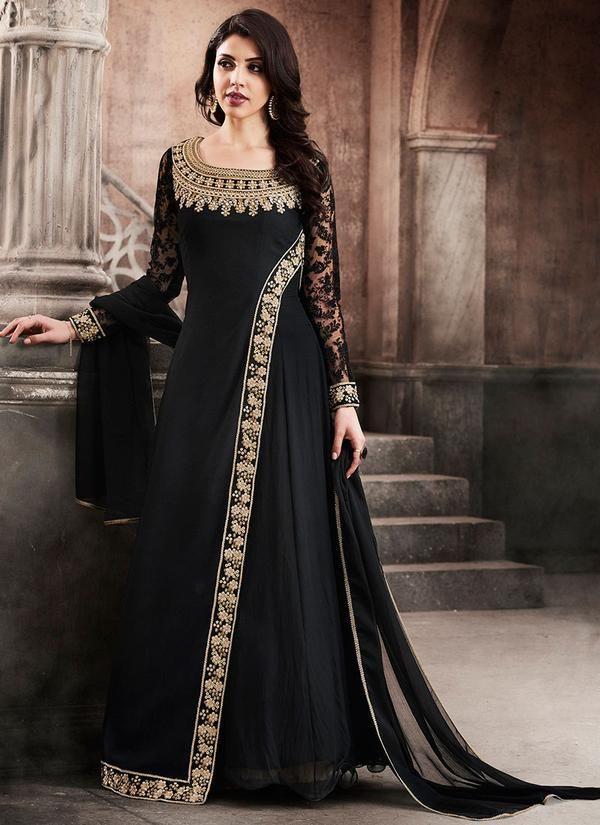 Black Full Sleeve Abaya Style Suit in Georgette