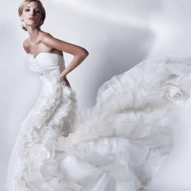 Ruffled tulle,mermaid style gown by Jane Wang