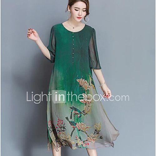 Signo de seda vestido de gama alta de primavera nuevas mujeres grandes yardas sueltas 100% vestido de seda de impresión era delgada 2017 - $216.3