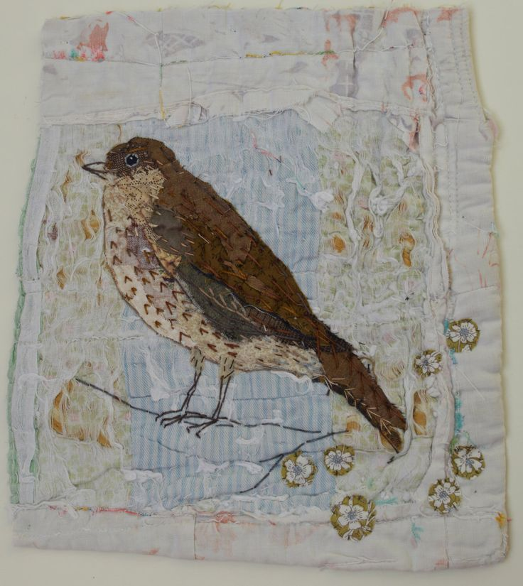 Unframed appliquéd song thrush with embroidery on to vintage quilt fragment by MandyPattullo on Etsy https://www.etsy.com/listing/476003839/unframed-appliqued-song-thrush-with