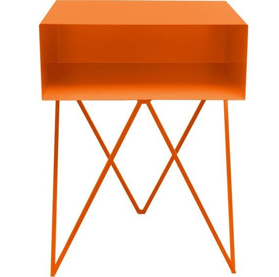 neon orange bedside table