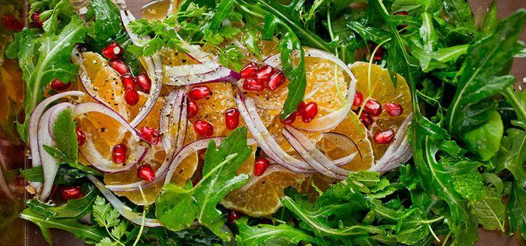Bilde av klementin- og rødløksalat med granateple