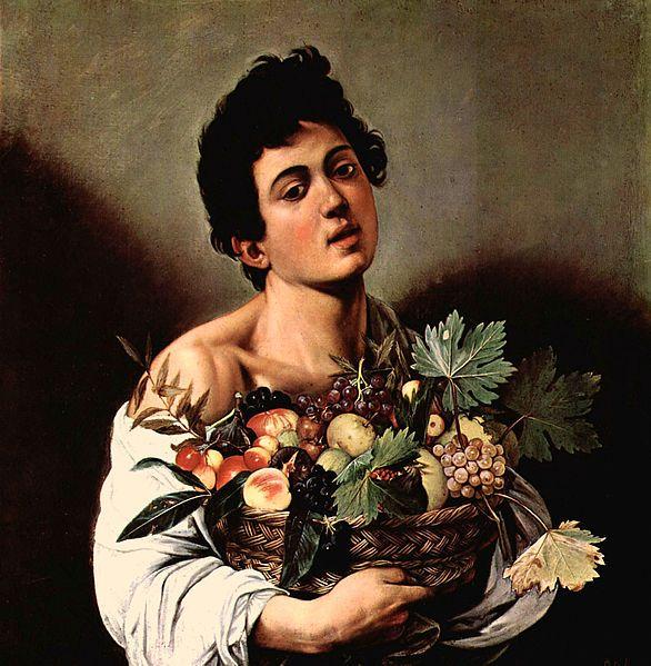 """Caravaggio (Michelangelo Merisi da Caravaggio) : """" Fanciullo con Cesto di Frutta """" , 1593-94 , olio su tela , 70x67 cm ,Gallería Borghese, Roma ."""