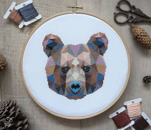 Bear Cross Stitch Pattern Geometric Animals Animal Cross