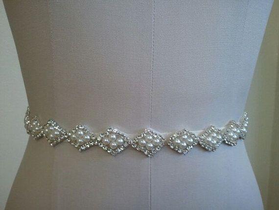 Wedding Belt, Bridal Belt, Sash Belt, Crystal Rhinestone & Off White Pearls - Style B20003 on Etsy, $42.00