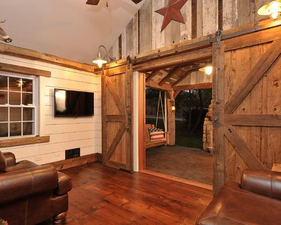Exterior Design Captivating Rustic Family Room With Barn Board Furniture Also Cool Door Slide Elegant Brown Armchair