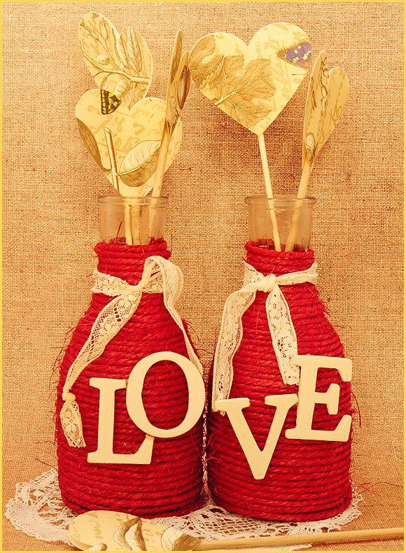 DIY para bodas- jarrones forrados con cuerda