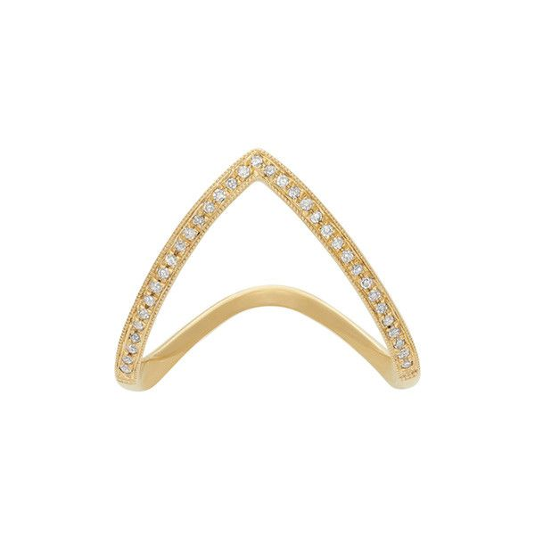 1/10 ct. tw. Diamond Chevron Ring ($425) ❤ liked on Polyvore featuring jewelry, rings, h, 14k diamond ring, diamond jewellery, round diamond ring, sparkle jewelry e 14k jewelry
