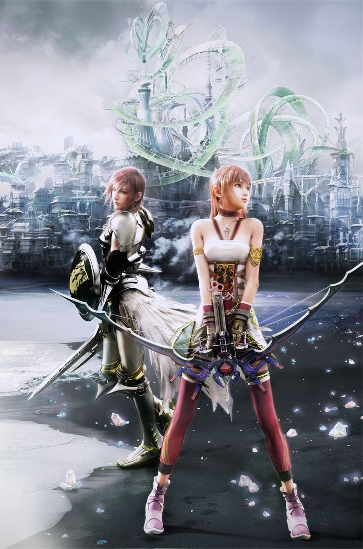Final Fantasy XIII-2 Promotional Art - Lightning and Serah. The ending was so sad I wanted to cry. Glad they fixed it with lightning returns