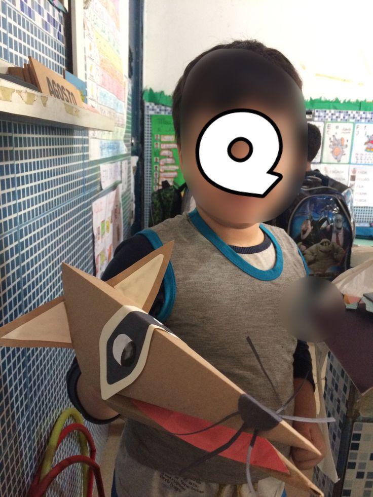 Quati fantoche, feito de dobradura de papel.