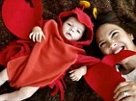 Cute enough to eat: Drew Barrymore shared this incredible snap of baby Olive dressed up for Halloween in a lobster costume with Oprah Winfrey
