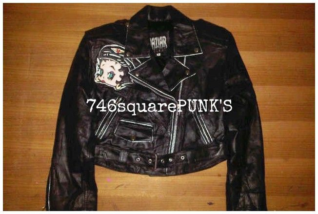 FOR SALE!  MAZIAR Betty Boop Leather Motorcycle Jacket. Price : Rp. 770.000. Condition : ORIGINAL, 99% Second Hand Like New. Size : Woman M.  Follow · Twitter : @746squarepunk_S · IG : @746squarepunks  Orders : · Phone : +62856 11 746 13 ( Message Only. ) · Line : 746squarepunks_INA · E_mail : 746squarepunksstore@gmail.com
