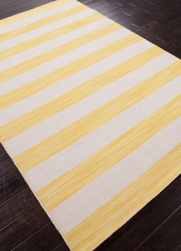 High Quality Daffodil Yellow And White Striped Area Rug