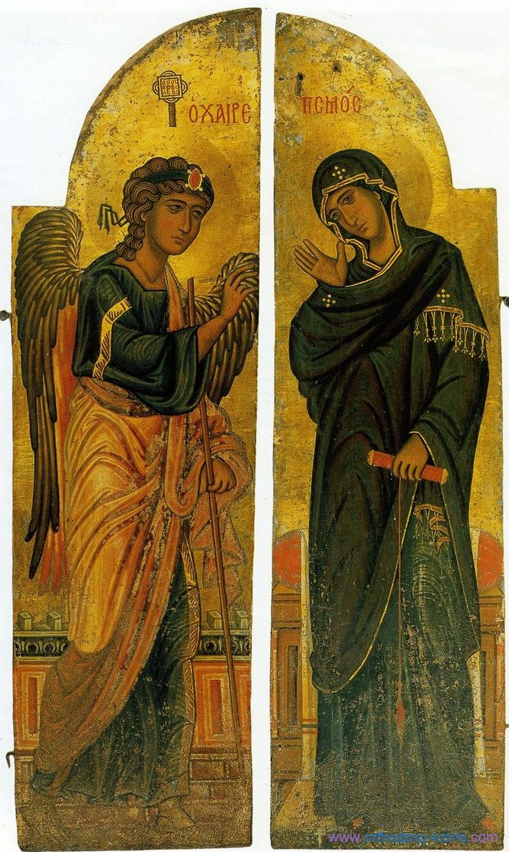 Annunciation of Our Lady. Ancient icons of Jesus Christ
