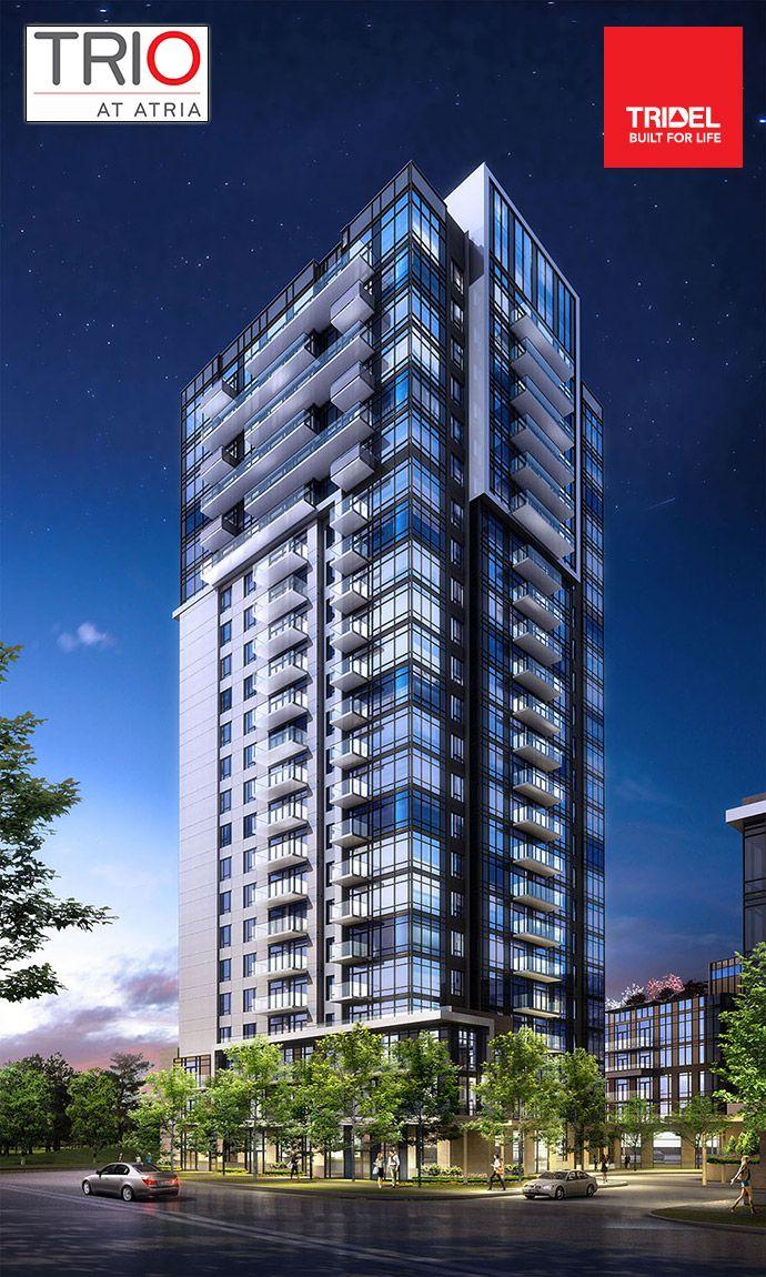 New #Toronto TRIO at Atria North York condo tower by #Tridel - sleek and modern