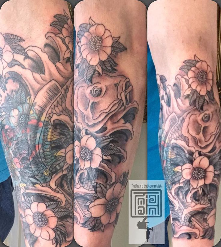 In progress cover-up by Nathan  #devilsown #devilsowntattoos #leicester #leicesterink #leicestertattoo #tattoo #jap #Japanese #Japanesetattoo #neotraditionaljapaneseatattoo #coverup #coveruptattoo #koi #koitattoo
