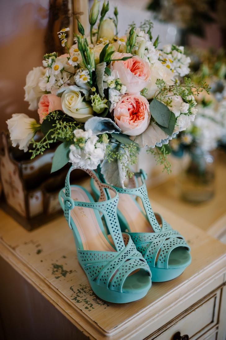 Teal bridal wedges