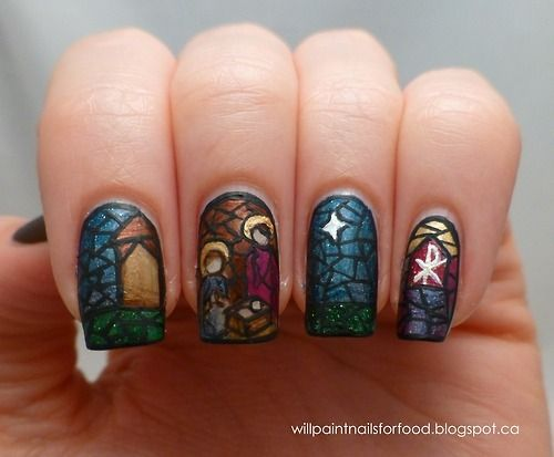 Nativity Christmas nail art