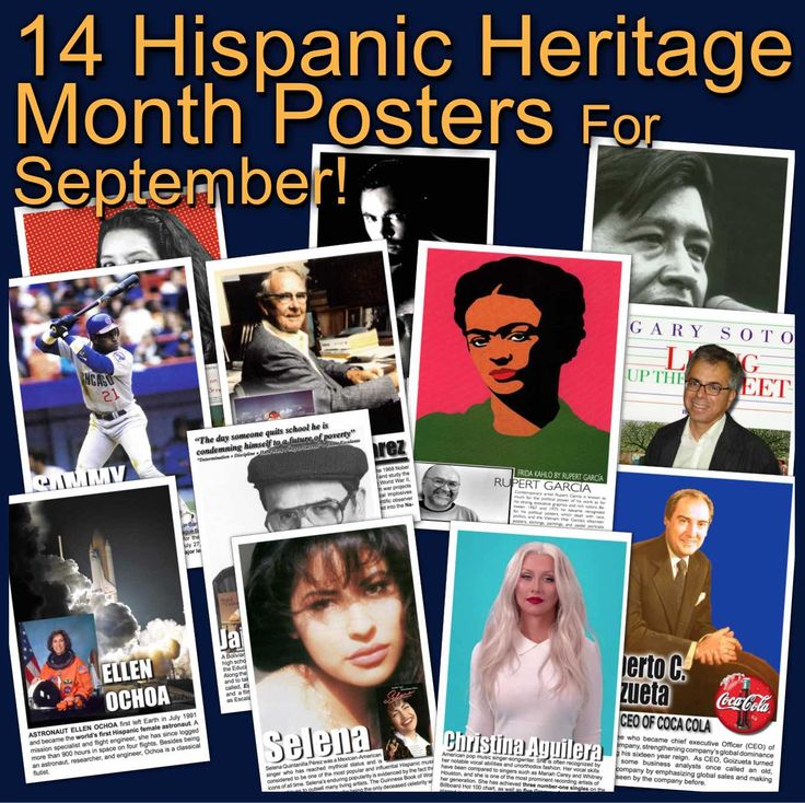 Celebrate Hispanic Heritage Month with these 11x17 posters recognizing 14 diverse Hispanic Americans for their achievements from the fields of education science, art, sports, business and literature. Posters can be scaled down to 8.5 x 11.  Rupert Garcia - Artist Roberto C. Goizueta - Former CEO of Coca Cola Sandra Cisneros - Author Sammy Sosa - Baseball Player Cesar Chavez - Activist Ellen Ochoa - Astronaut Oscar de la Hoya - Boxer Luis Walter Alvarez - Scientist/Physicist Christina…