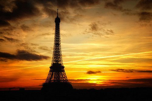 Eiffel tower - sunset. I would love to see this!